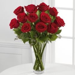 12  Roses in clear vase from Clifford's where roses are our specialty