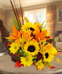 Rustic Cornucopia from Clifford's where roses are our specialty