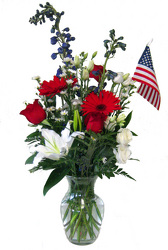 Red, White, and Blue from Clifford's where roses are our specialty