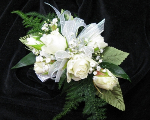 Official site of cliffords flowers top florist quincy boston ma white rose corsage from cliffords where roses are our specialty click here for larger image mightylinksfo
