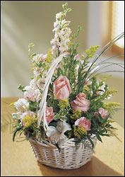 Blushing Beauty Basket from Clifford's where roses are our specialty