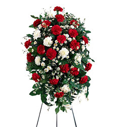 FTD Crimson & White Standing Spray from Clifford's where roses are our specialty