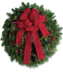 Classic Holiday Wreath from Clifford's where roses are our specialty