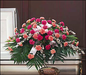 Delicate Pink Casket Spray from Clifford's where roses are our specialty