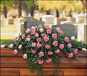 Heavenly Pink Casket Spray from Clifford's where roses are our specialty