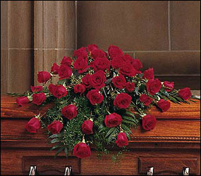 Blooming Red Roses Casket Spray from Clifford's where roses are our specialty