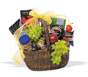 Gourmet Picnic Basket from Clifford's where roses are our specialty