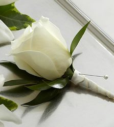 Boutonniere from Clifford's where roses are our specialty